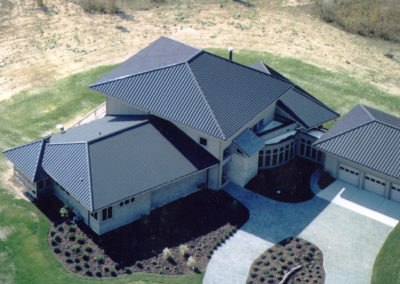 Arial View of Black Standing Seam Metal Roof Profile on estate in Multnomah County