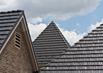 Steeped Pitch Cedar Shake Gray Metal Roof Profile