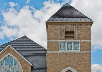 Cedar Shake Gray Metal Roof on Church Steeple