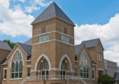 Cedar Shake Gray Metal Roof - Full Profile of Church Roof and Steeple
