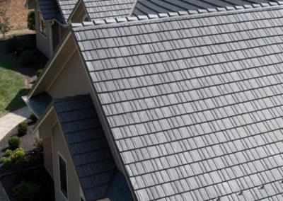 Close up Vermont Slate Cedar Shake Metal Roof Profile