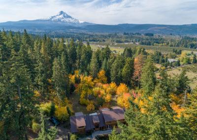 Brown Metal Roof Aerial View overlooking Mt. Hood in Oregon