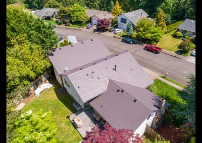 Metal roof aerial view