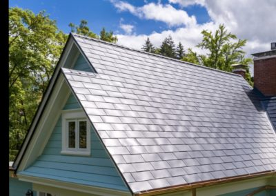 metal roofing products slate up close blue house