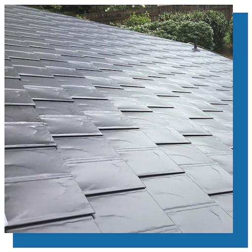 View of metal cedar shake roof